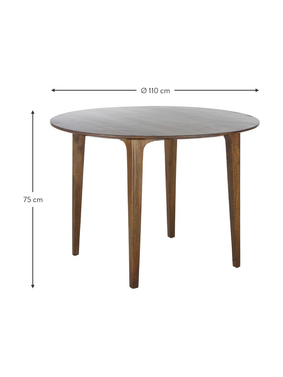 Table à manger ronde en bois massif Archie, Bois de manguier, laqué foncé