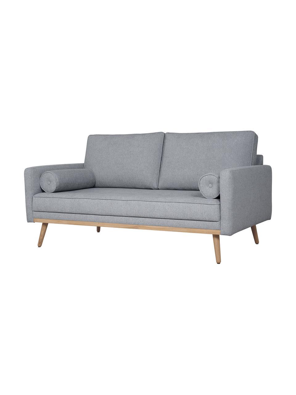 Sofa Saint (2-Sitzer) in Blaugrau mit Eichenholz-Füßen, Bezug: Polyester Der hochwertige, Gestell: Massives Kiefernholz, Spa, Webstoff Blaugrau, B 169 x T 87 cm