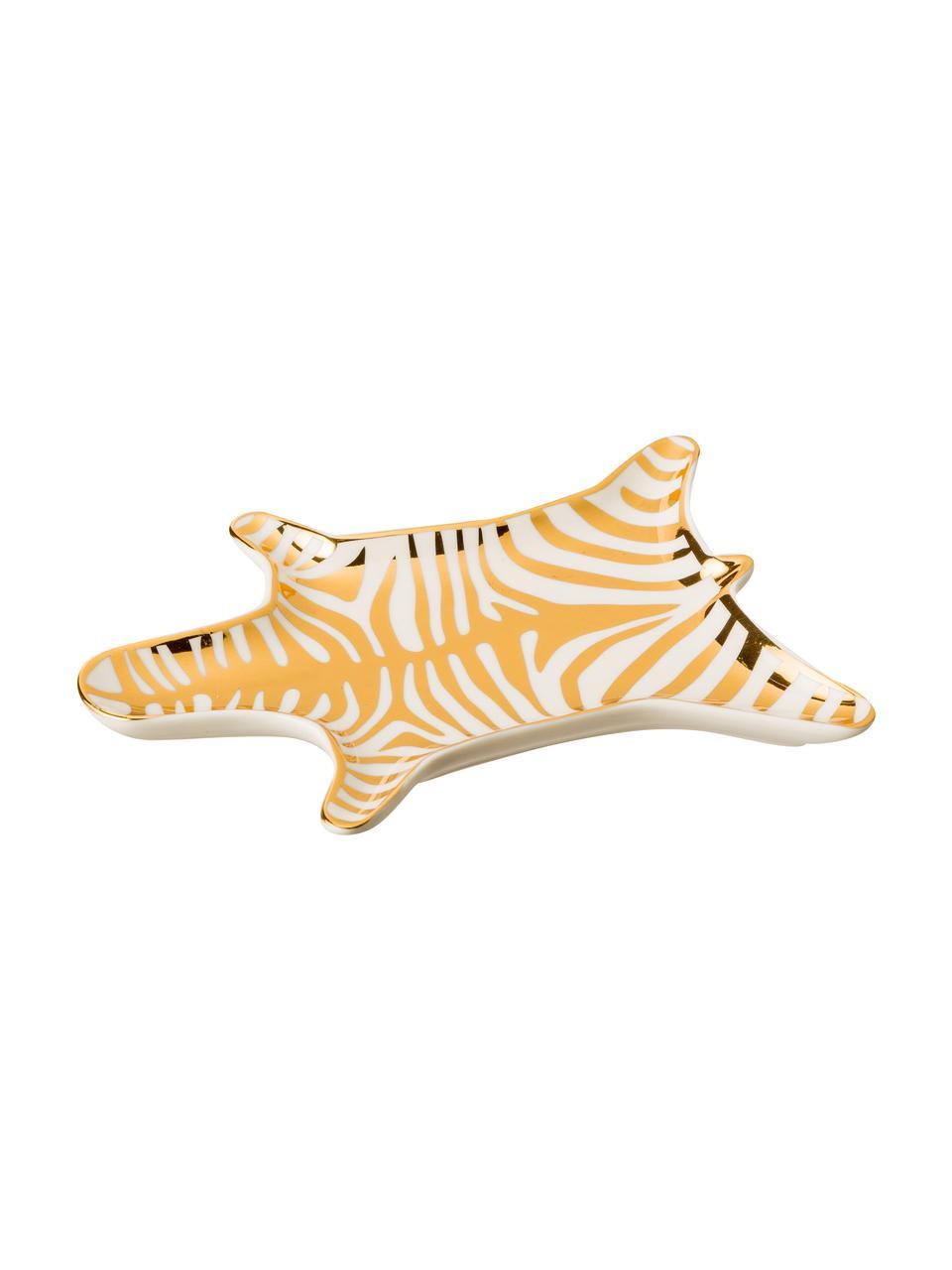 Coupelle décorative design Zebra en porcelaine, Couleur dorée, blanc