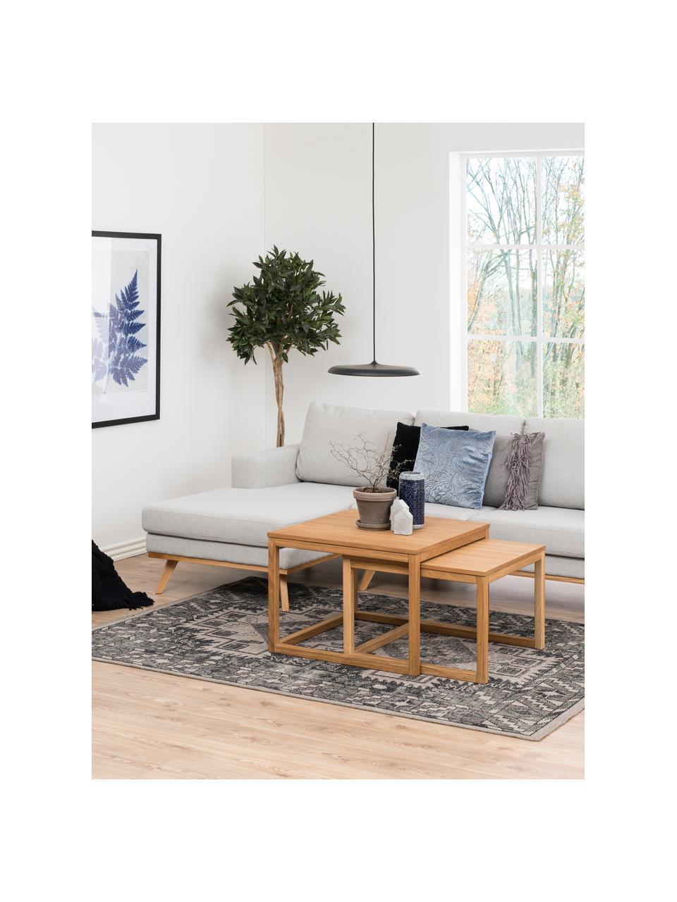 Sofa narożna z nogami z drewna bukowego Norwich, Tapicerka: poliester, Nogi: drewno bukowe, barwione, Jasny szary, S 233 x G 148 cm