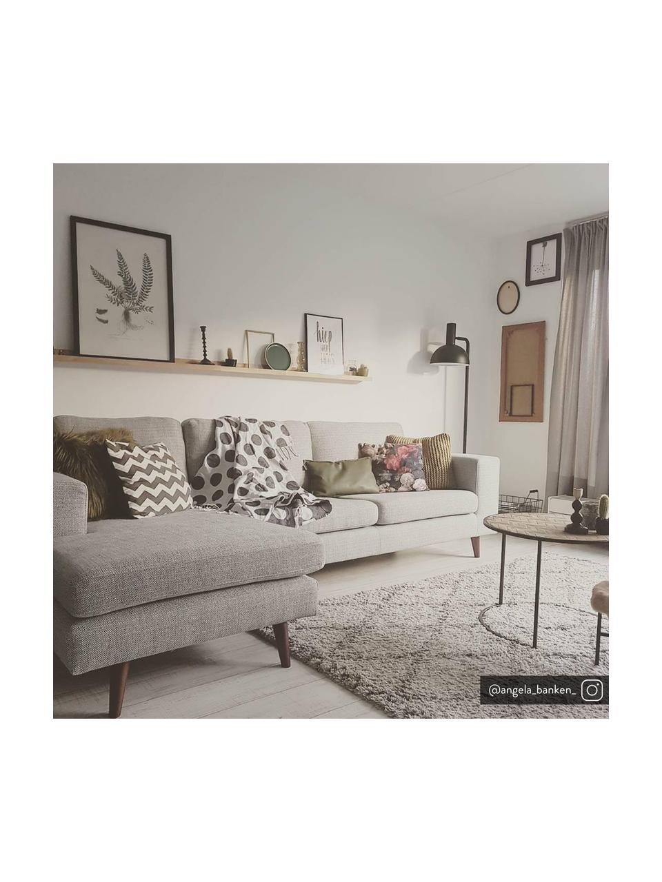 Divano angolare in tessuto grigio chiaro Norwich, Rivestimento: poliestere, Piedini: legno di faggio, vernicia, Tessuto grigio chiaro, Larg. 233 x Prof. 148 cm