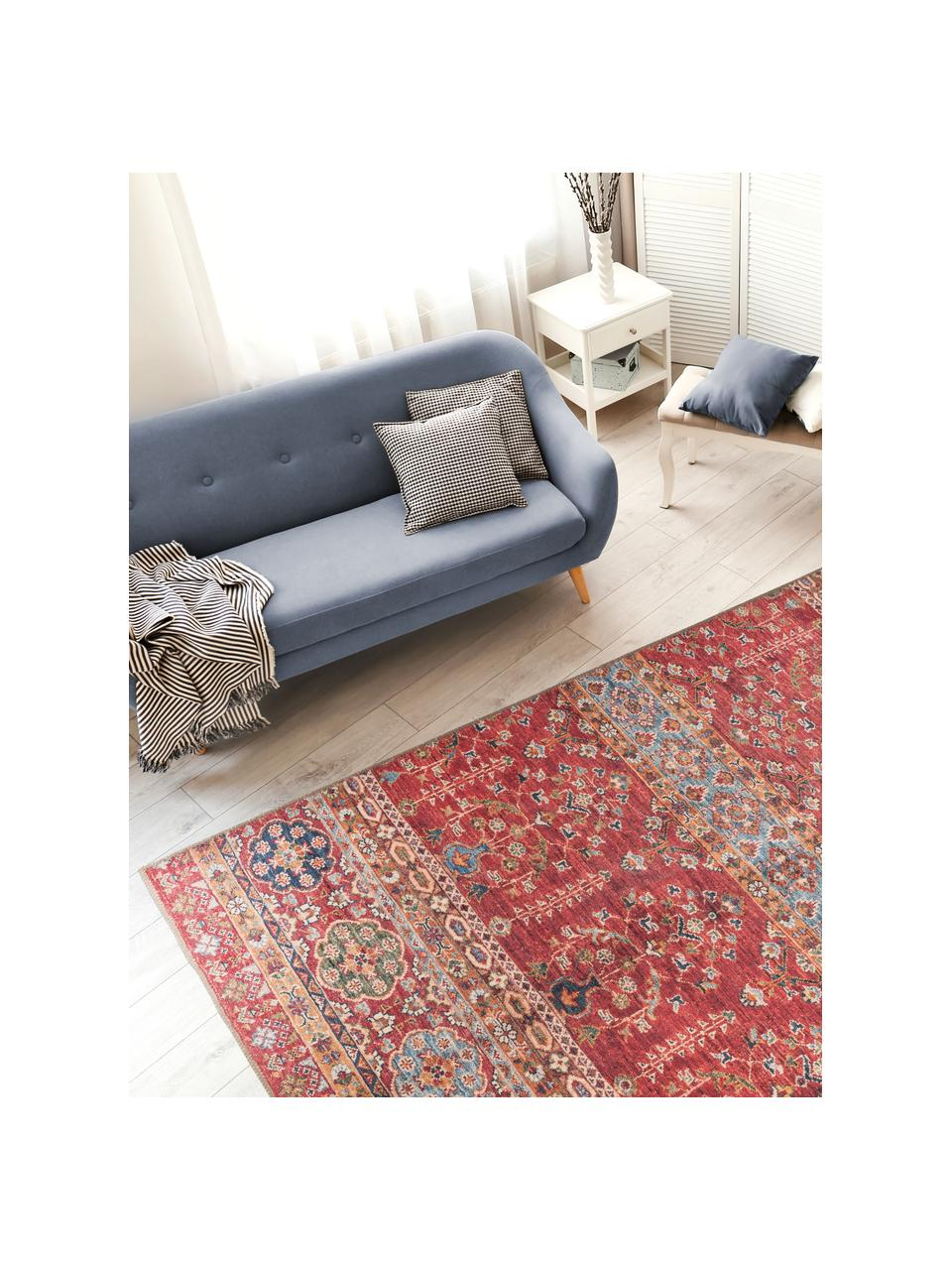 Niederflor-Teppich Femal im Orient Style, Flor: 100% Polyester, Rot, Mehrfarbig, B 75 x L 150 cm (Größe XS)
