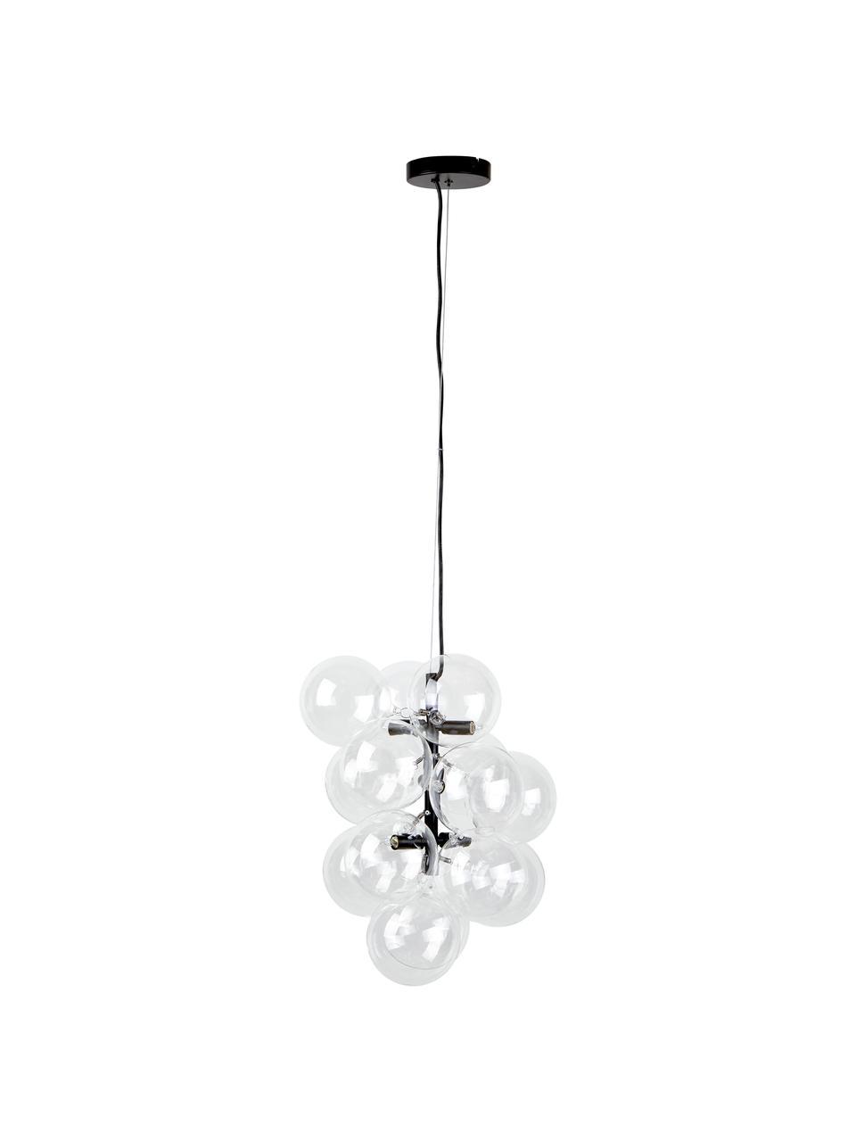 Design hanglamp Bubbles van glas, Baldakijn: gepoedercoat metaal, Zwart, Ø 32 cm