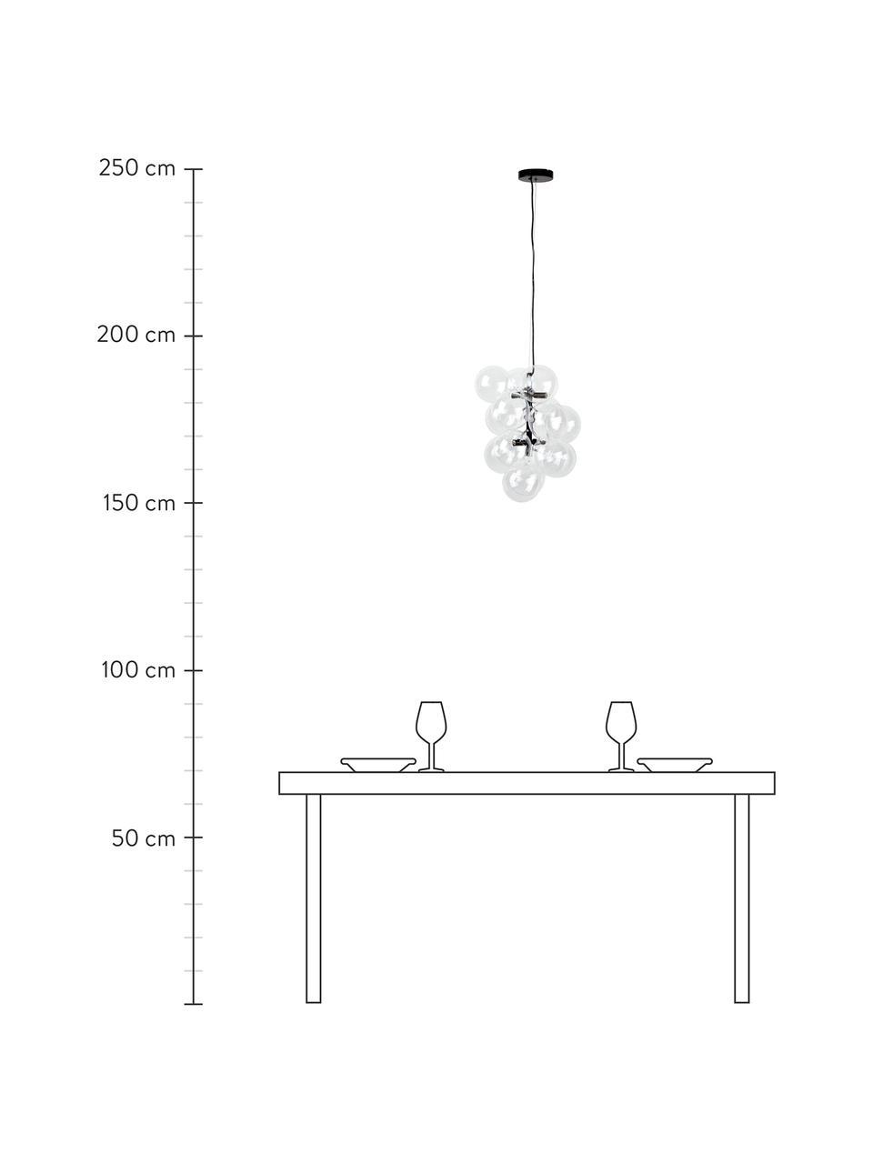Design Pendelleuchte Bubbles aus Glas, Baldachin: Metall, pulverbeschichtet, Schwarz, Ø 32 cm