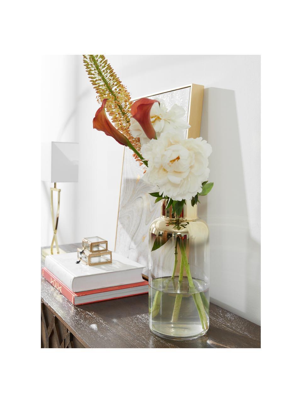 Grote vaas Uma, Glas, Transparant, goudkleurig, Ø 16 x H 35 cm