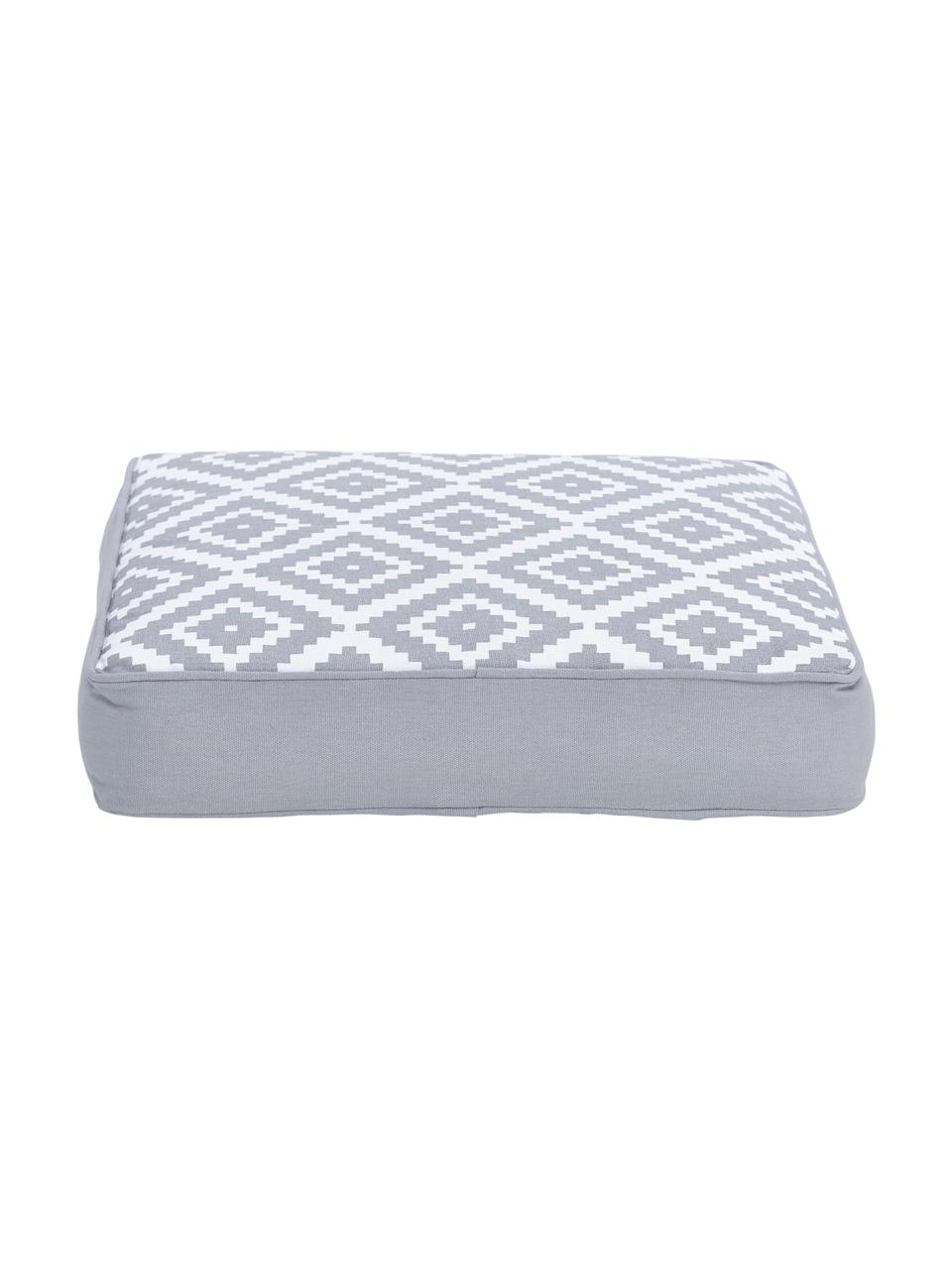Hohes Sitzkissen Miami in Hellgrau/Weiß, Bezug: 100% Baumwolle, Grau, 40 x 40 cm