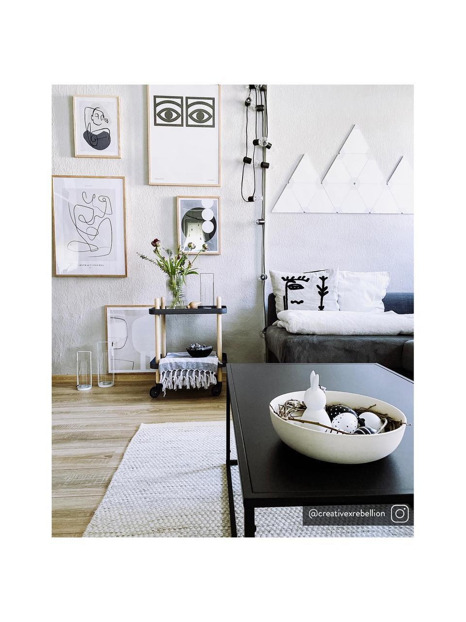 Beistelltisch Block im Skandi Design, Ablageböden: Stahl, Rahmen: Eschenholz, Rollen: Stahl, Gummi, Dunkelgrau, 50 x 64 cm