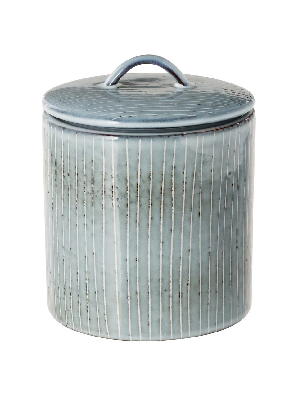 Ręcznie wykonany pojemnik do przechowywania z kamionki Nordic Sea, Kamionka, Odcienie szarego, odcienie niebieskiego, Ø 12 x W 12 cm