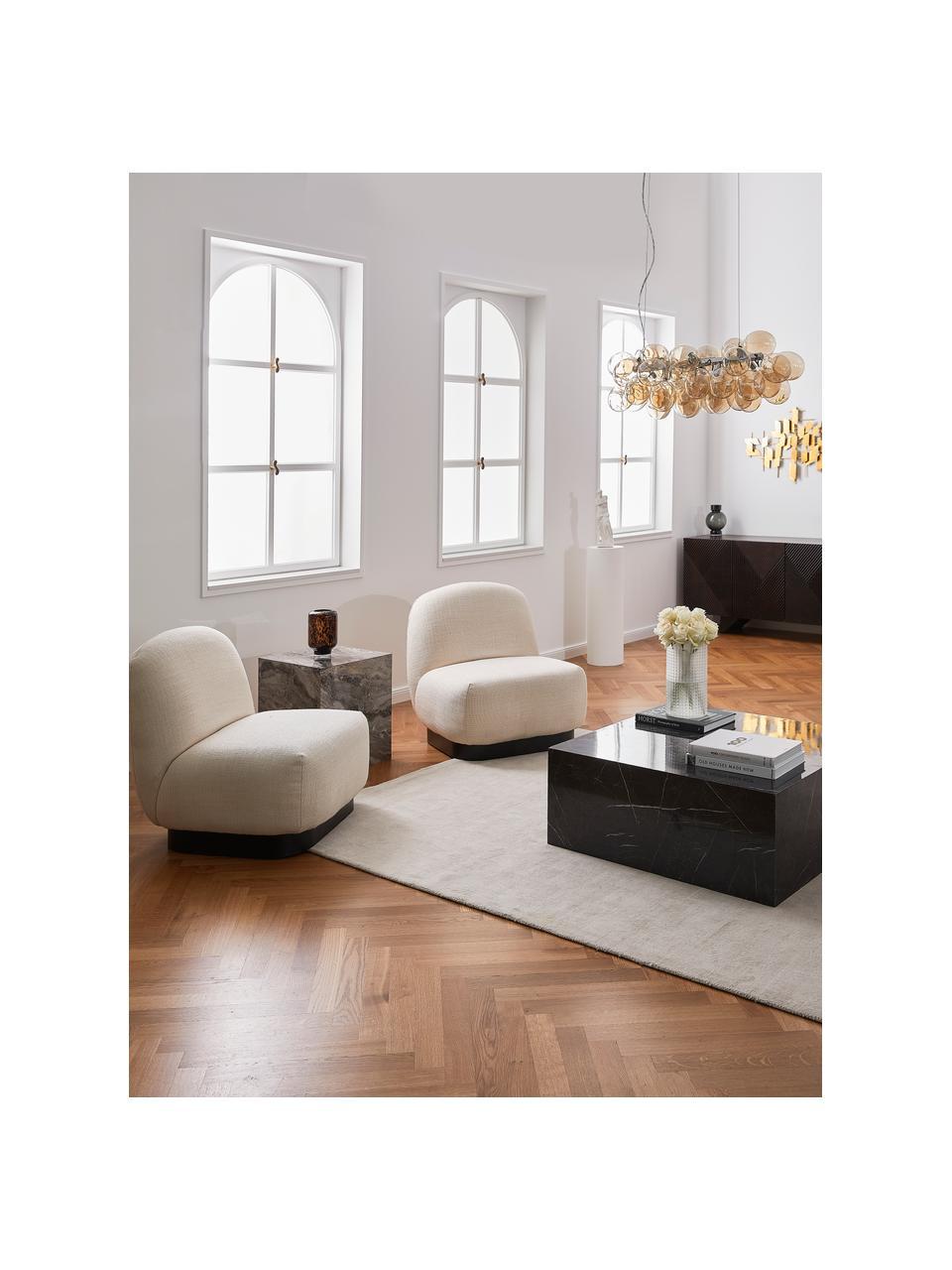 Fauteuil Elsie in crèmewit, Bekleding: polyester, Frame: multiplex, massief eucaly, Voet: gepoedercoat metaal, Geweven stof crèmewit, B 77 x D 84 cm