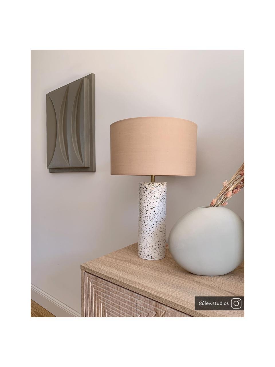 Große Tischlampe Mosaik mit Betonfuß, Lampenschirm: Baumwollgemisch, Lampenfuß: Beton, Dekor: Metall, gebürstet, Altrosa, Weiß, Terrazzo-gemustert, Ø 33 x H 50 cm