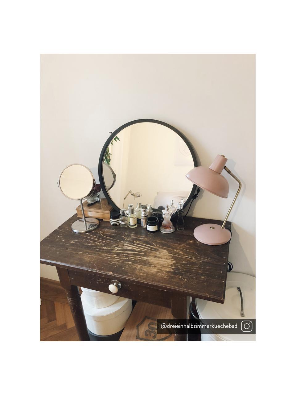 Retro-Schreibtischlampe Hood, Lampenschirm: Metall, lackiert, Lampenfuß: Metall, lackiert, Leuchte: Rosa, Messingfarben Lampenschirm innen: Weiß, 20 x 38 cm
