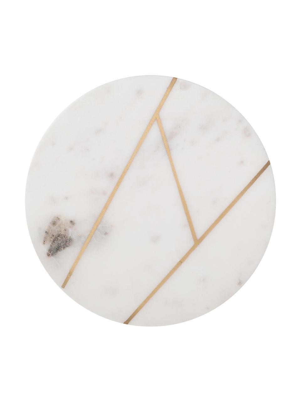 Komplet desek z marmuru Marble, 2elem., Marmur, Biały, marmurowy, odcienie złotego, Ø 18 cm
