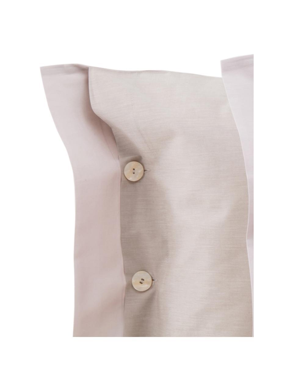 Completo copripiumino in raso di cotone Charme, Raso di cotone, Beige, 200 x 255 cm + 2 federe + 1 lenzuolo con angoli