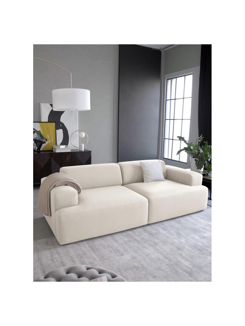 Sofa Melva (3-Sitzer) in Beige, Bezug: 100% Polyester Der hochwe, Gestell: Massives Kiefernholz, FSC, Füße: Kunststoff, Webstoff Beige, B 238 x T 101 cm