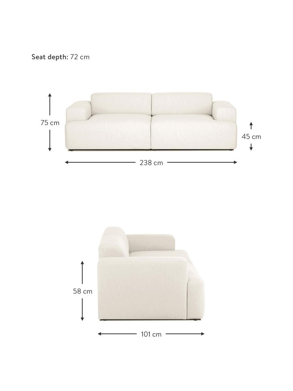 Canapé 3places beige Melva, Tissu beige