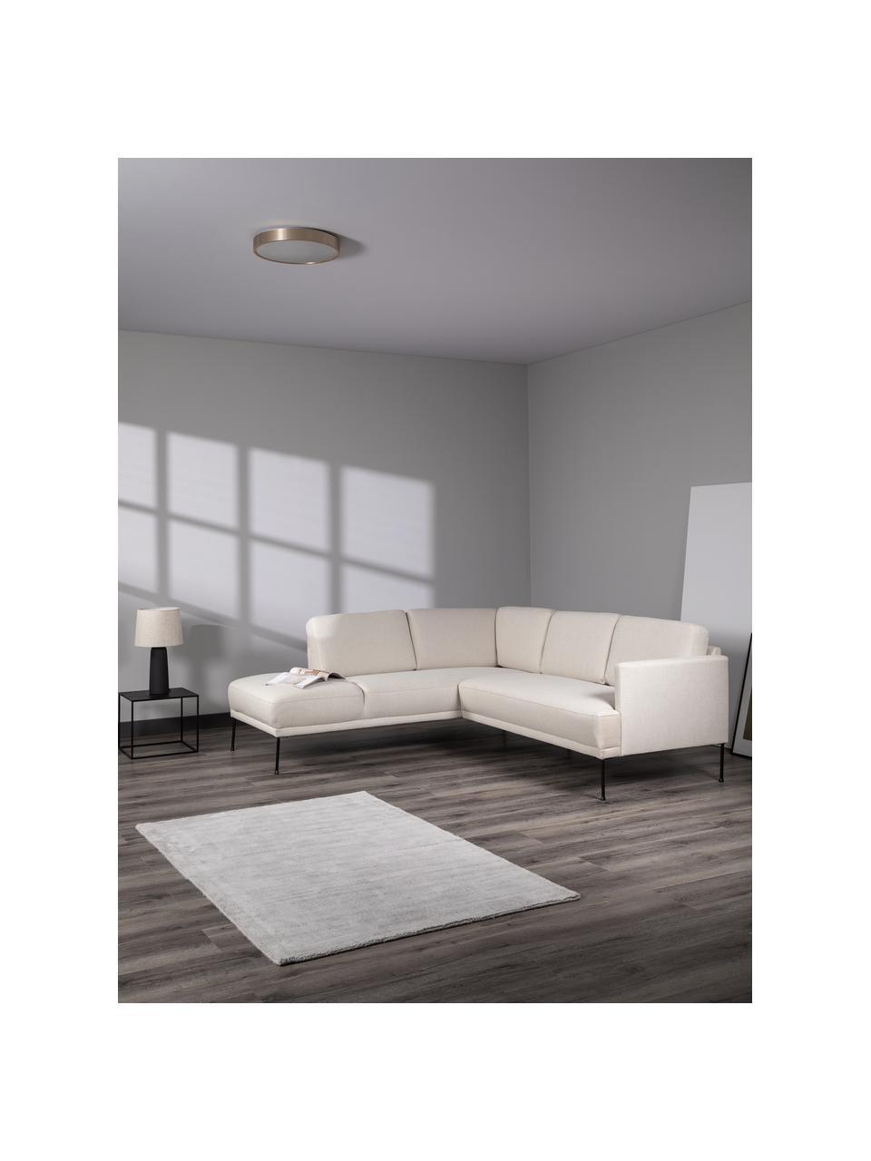 Canapé d'angle tissu beige pieds en métal Fluente, Tissu beige