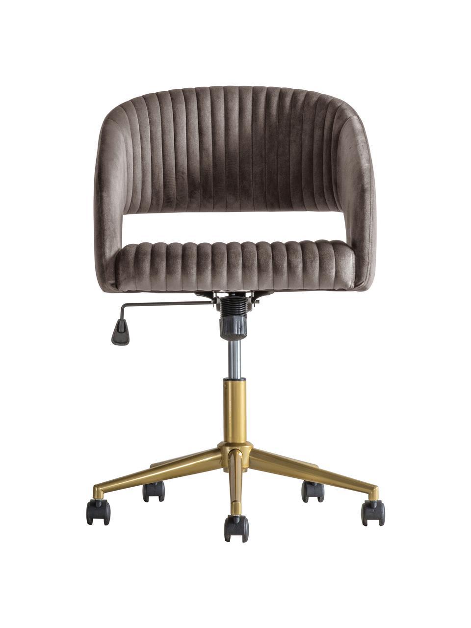 Biurowe krzesło obrotowe z aksamitu Murray, Tapicerka: aksamit poliestrowy, Nogi: metal galwanizowany, Szary, S 56 x G 52 cm
