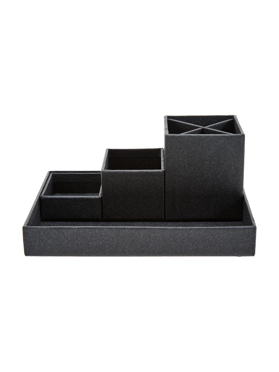 Büro-Organizer-Set Lena, 4-tlg., Fester Karton, mit Holzdekor bedruckt, Schwarz, Sondergrößen
