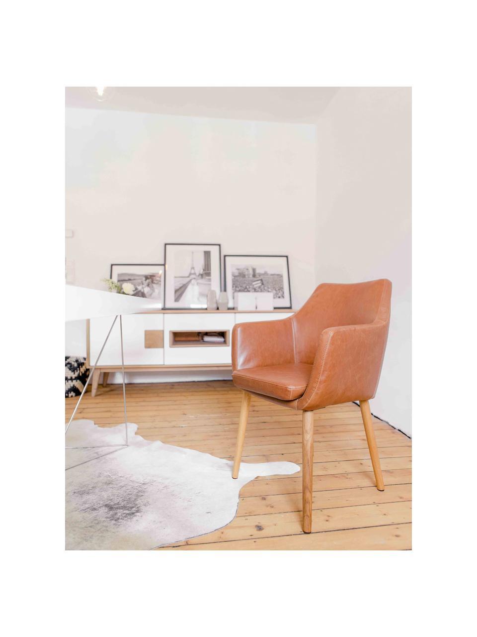 Židle spodručkami z imitace kůže Nora, Koňak