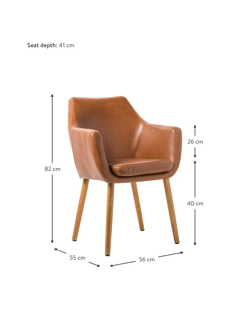 Krzesło z podłokietnikami ze sztucznej skóry Nora, Tapicerka: sztuczna skóra, poliureta, Nogi: drewno dębowe, Sztuczna skóra: koniakowy, nogi: drewno dębowe, S 56 x G 55 cm