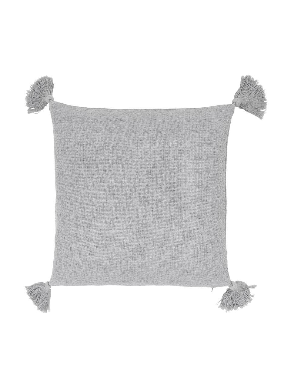 Federa arredo color grigio chiaro con nappe decorative Lori, 100% cotone, Grigio, Larg. 40 x Lung. 40 cm