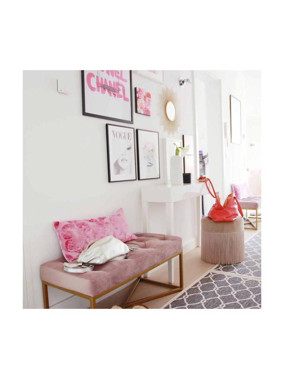 Ławka tapicerowana z aksamitu Crossover, Tapicerka: aksamit poliestrowy Dzięk, Stelaż: metal lakierowany, Blady różowy, odcienie mosiądzu, S 90 x H 40 cm