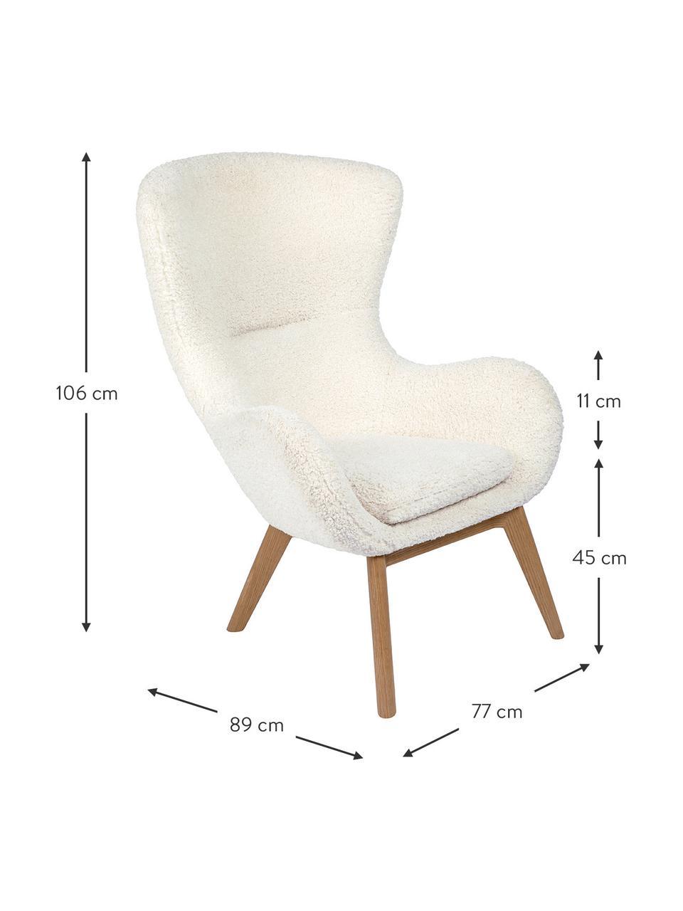 Teddy fauteuil Wing in crèmewit met houten poten, Bekleding: polyester (teddyvacht), Poten: gelakt massief hout met e, Crèmewit, B 77 x D 89 cm