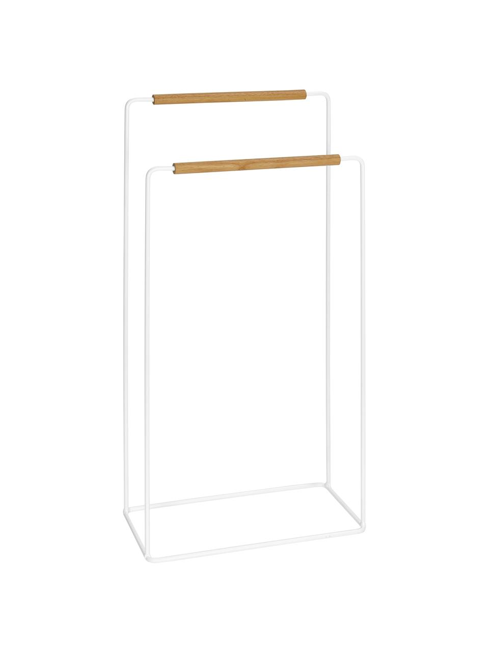Handtuchhalter Barbican, Metall, Gummibaumholz, lackiert, Weiß, Gummibaumholz, 40 x 81 cm