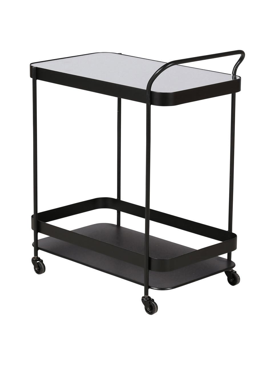 Wózek barowy z lustrzanym blatem Joya, Stelaż: metal powlekany, Czarny, S 63 x W 76 cm