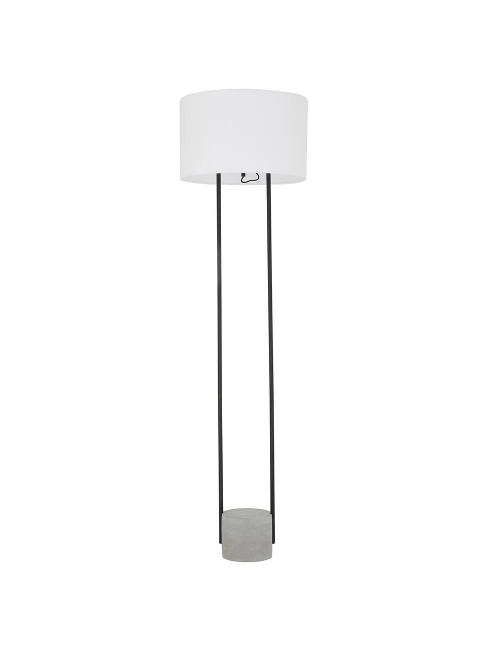 Vloerlamp Pipero met betonnen voet, Lampenkap: textiel, Frame: gepoedercoat metaal, Lampvoet: beton, Lampenkap: wit. Lampvoet: mat zwart, grijs. Snoer: zwart, Ø 45 x H 161 cm