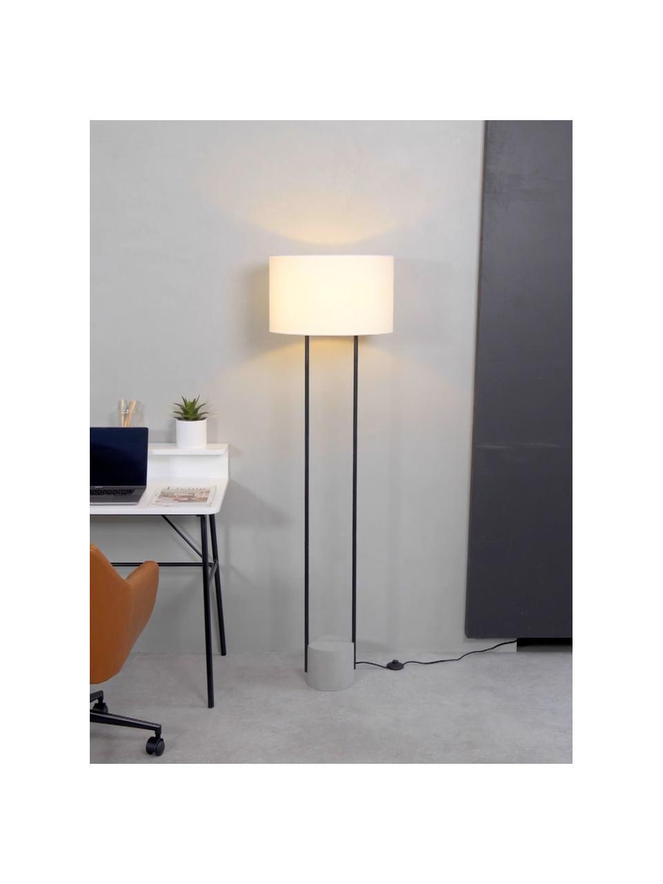 Lampa podłogowa z betonową podstawą Pipero, Stelaż: metal malowany proszkowo, Klosz: biały Podstawa lampy: czarny, matowy, szary Kabel: czarny, Ø 45 x W 161 cm