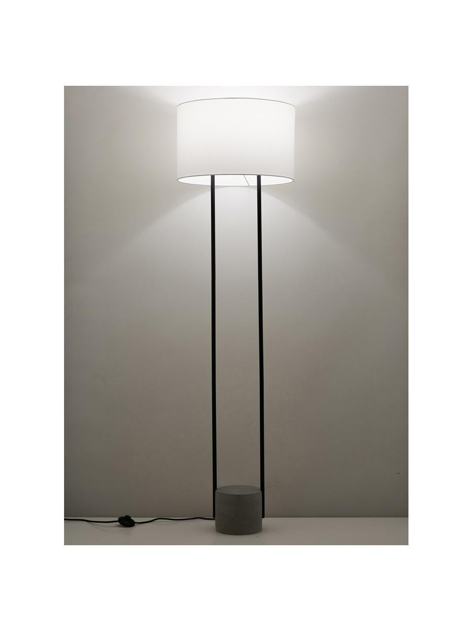 Lampadaire avec pied en béton Pipero, Abat-jour: blanc Pied de lampe: noir, mat, gris Câble: noir