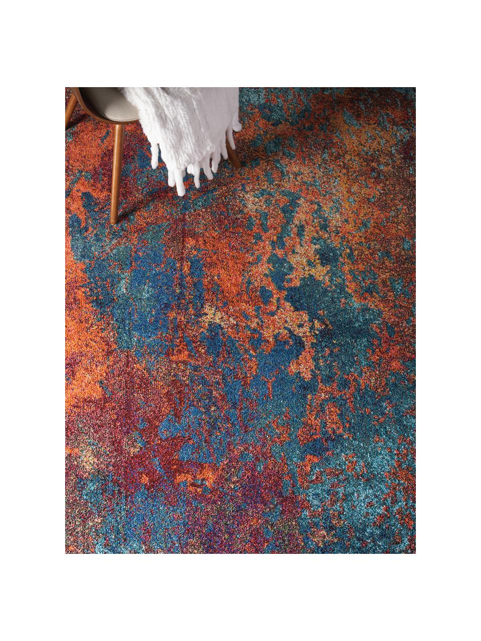 Tapis design jute multicolore Celestial, Tons rouges, tons bleus, vert