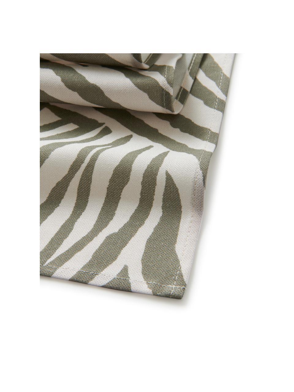 Runner in cotone biologico con motivo zebra Zadie, 100% cotone, Verde oliva, bianco crema, Larg. 40 x Lung. 140 cm