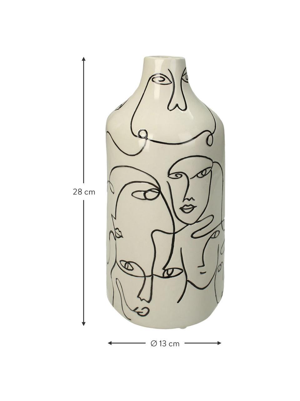 Vase Faces aus Steingut, Steingut, Gebrochenes Weiß, Schwarz, Ø 13 x H 28 cm
