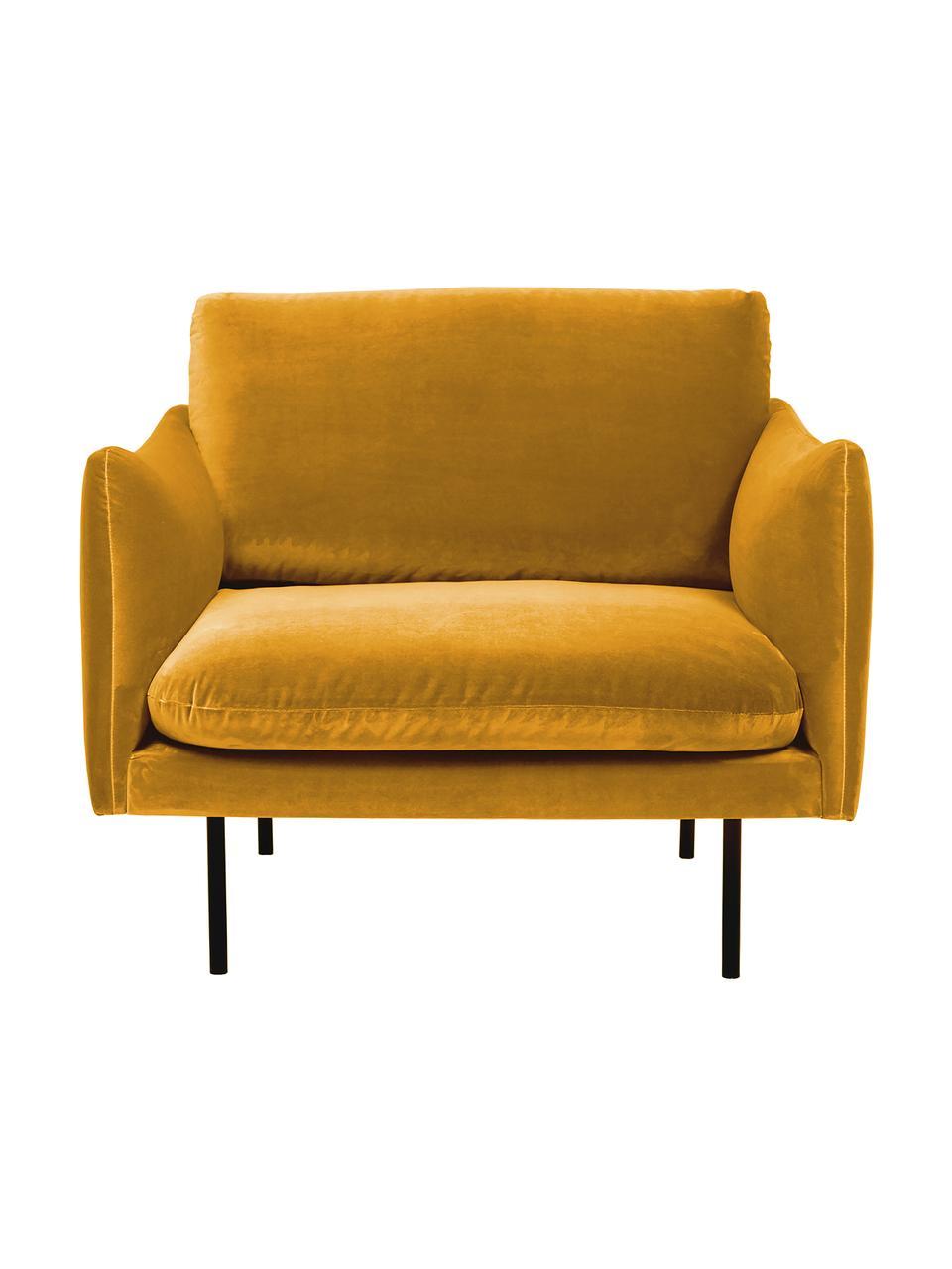 Fauteuil moderne velours turquoise pieds en métal Moby, Velours jaune moutarde