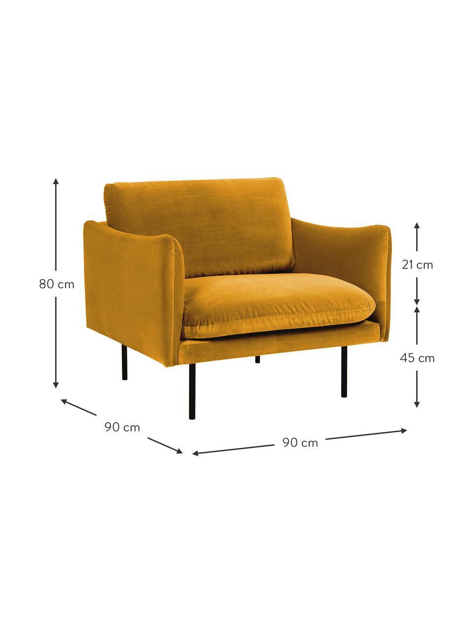 Fotel z aksamitu z metalowymi nogami Moby, Tapicerka: aksamit (wysokiej jakości, Stelaż: lite drewno sosnowe, Nogi: metal malowany proszkowo, Aksamitny musztardowy, S 90 x G 90 cm
