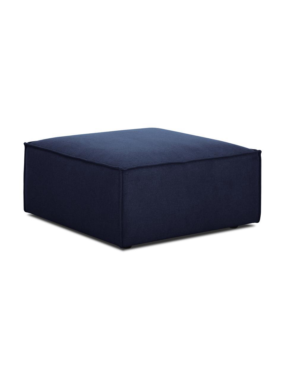 Voetenbank Lennon in blauw, Bekleding: 100% polyester De slijtva, Frame: massief grenenhout, multi, Poten: kunststof De poten bevind, Geweven stof blauw, 88 x 43 cm