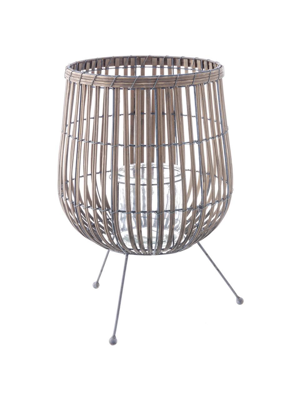 Portacandela Rabat, Portacandela: salice, Piedini: metallo rivestito, Marrone, metallo, Ø 30 x Alt. 46 cm