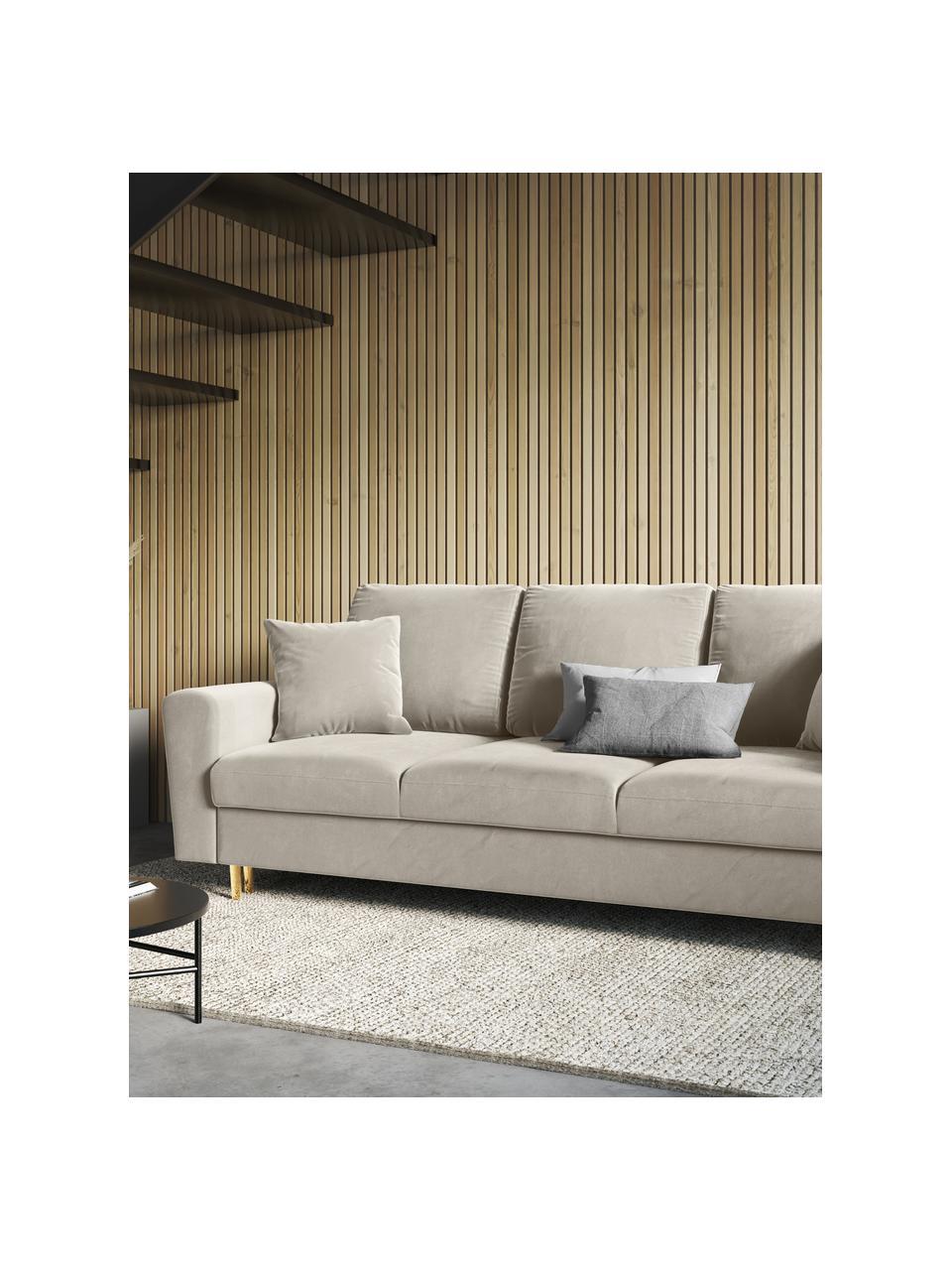 Sofa rozkładana z aksamitu z miejscem do przechowywania Moghan (3-osobowa), Tapicerka: 100% aksamit poliestrowy , Nogi: metal powlekany, Beżowy, S 235 x G 100 cm