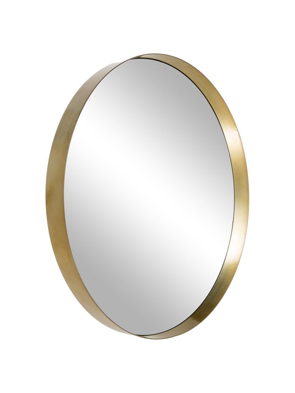 Runder Wandspiegel Metal mit Goldrahmen, Rahmen: Metall, lackiert mit gewo, Rahmen: Goldfarben Spiegelglas, Ø 30 cm