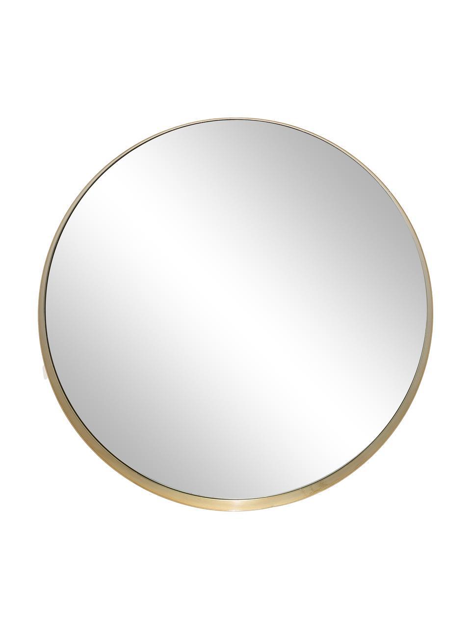 Miroir mural rond métal doré Metal, Cadre : couleur dorée Verre miroir