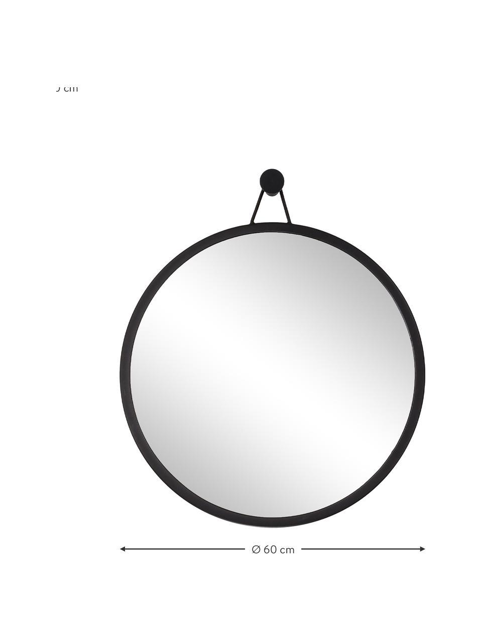 Specchio rotondo da parete con cornice nera Lizzy, Cornice: ferro verniciato a polver, Superficie dello specchio: lastra di vetro, Nero, Ø 60 cm