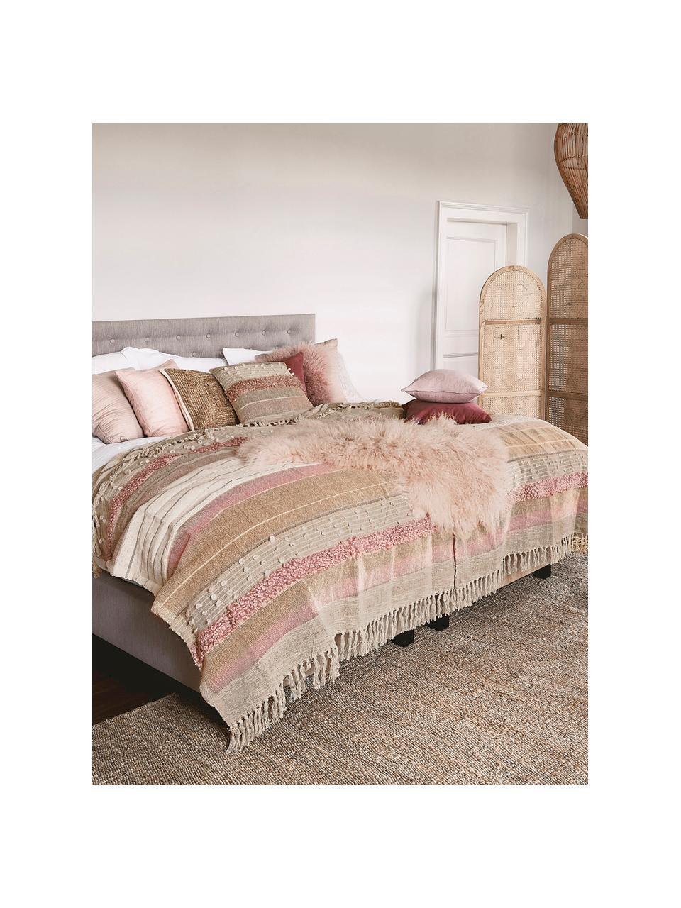 Plaid Madison in Rosa/Beige mit Lurexfäden, 75% Baumwolle, 25% Acryl, 5%Lurexfäden, Beige, Pink, Weiß, 130 x 170 cm
