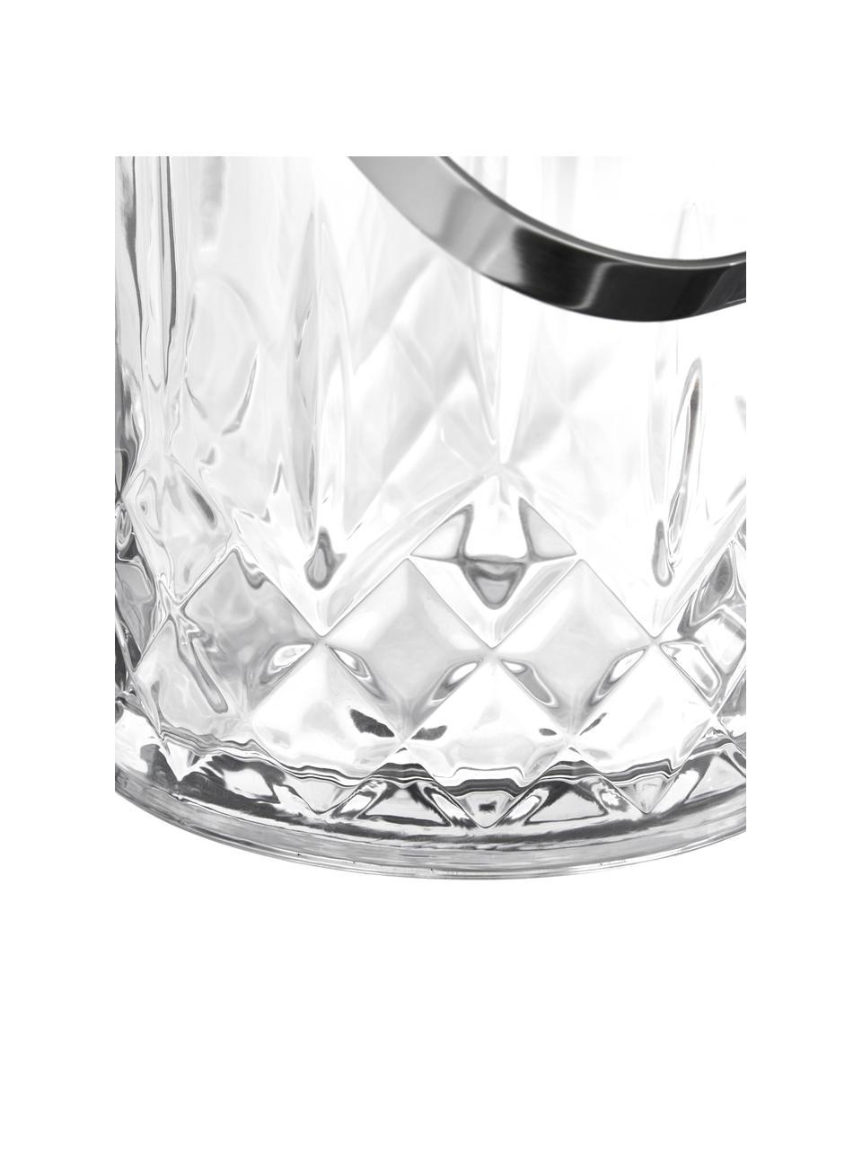 Kleiner Eiseimer Harvey mit Eiszange und Kristallrelief, Glas, Transparent, Ø 13 x H 14 cm