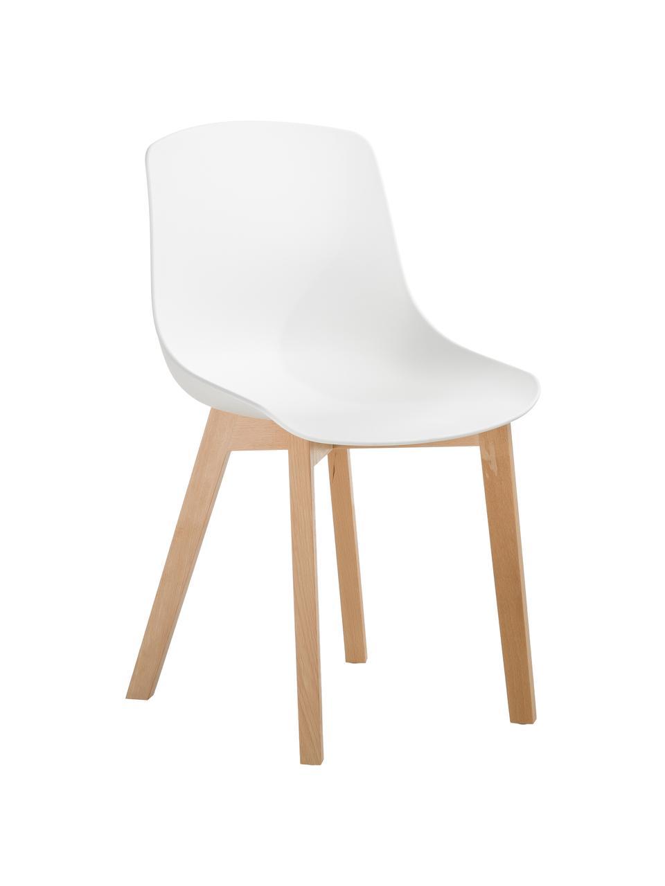 Kunststoffen stoelen Dave met houten poten, 2 stuks, Zitvlak: kunststof, Poten: beukenhout, Wit, 46 x 82 cm
