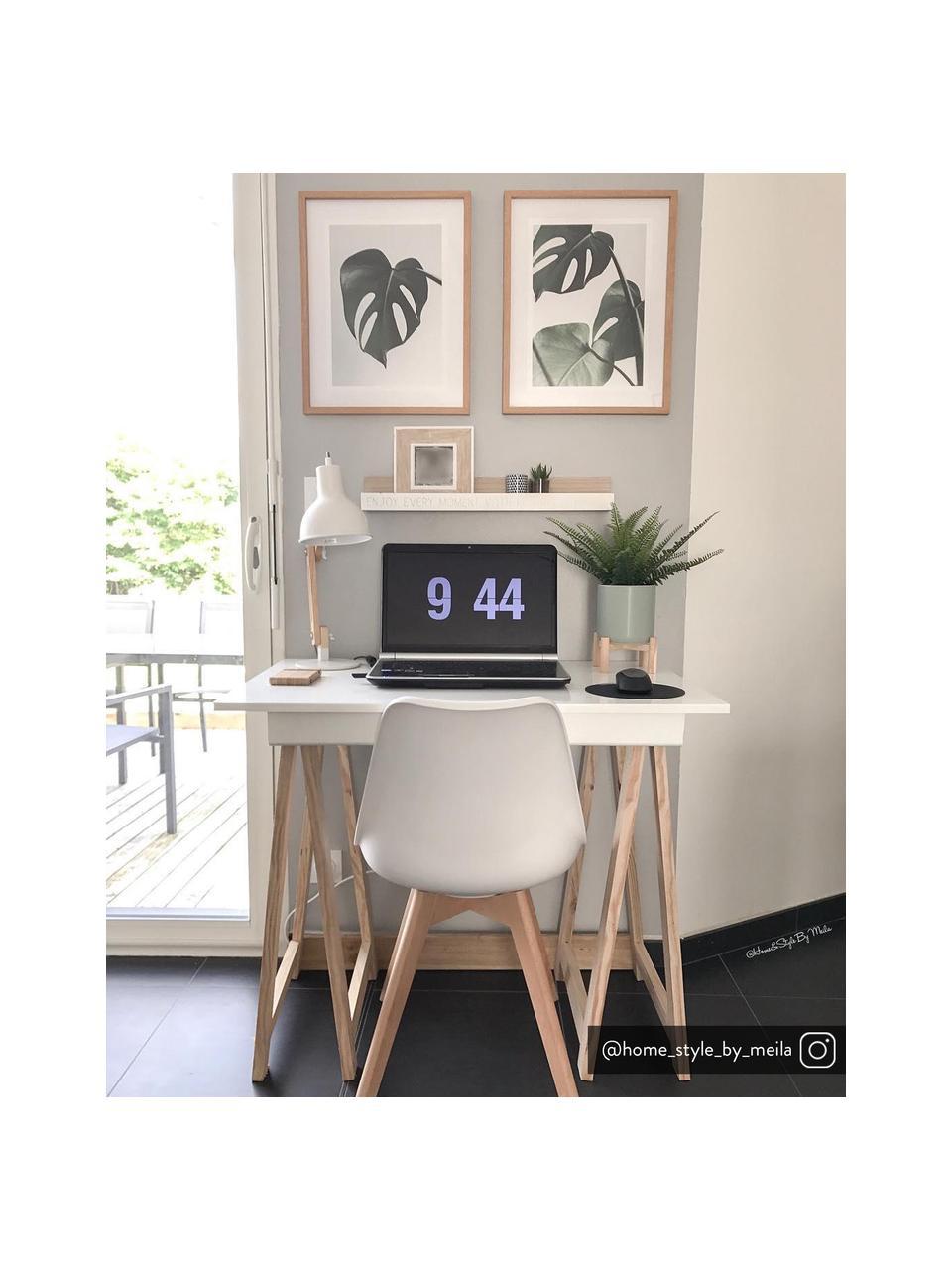 Krzesło z tworzywa sztucznego z drewnianymi nogami Dave, 2 szt., Nogi: drewno bukowe, Biały, S 46 x G 52 cm