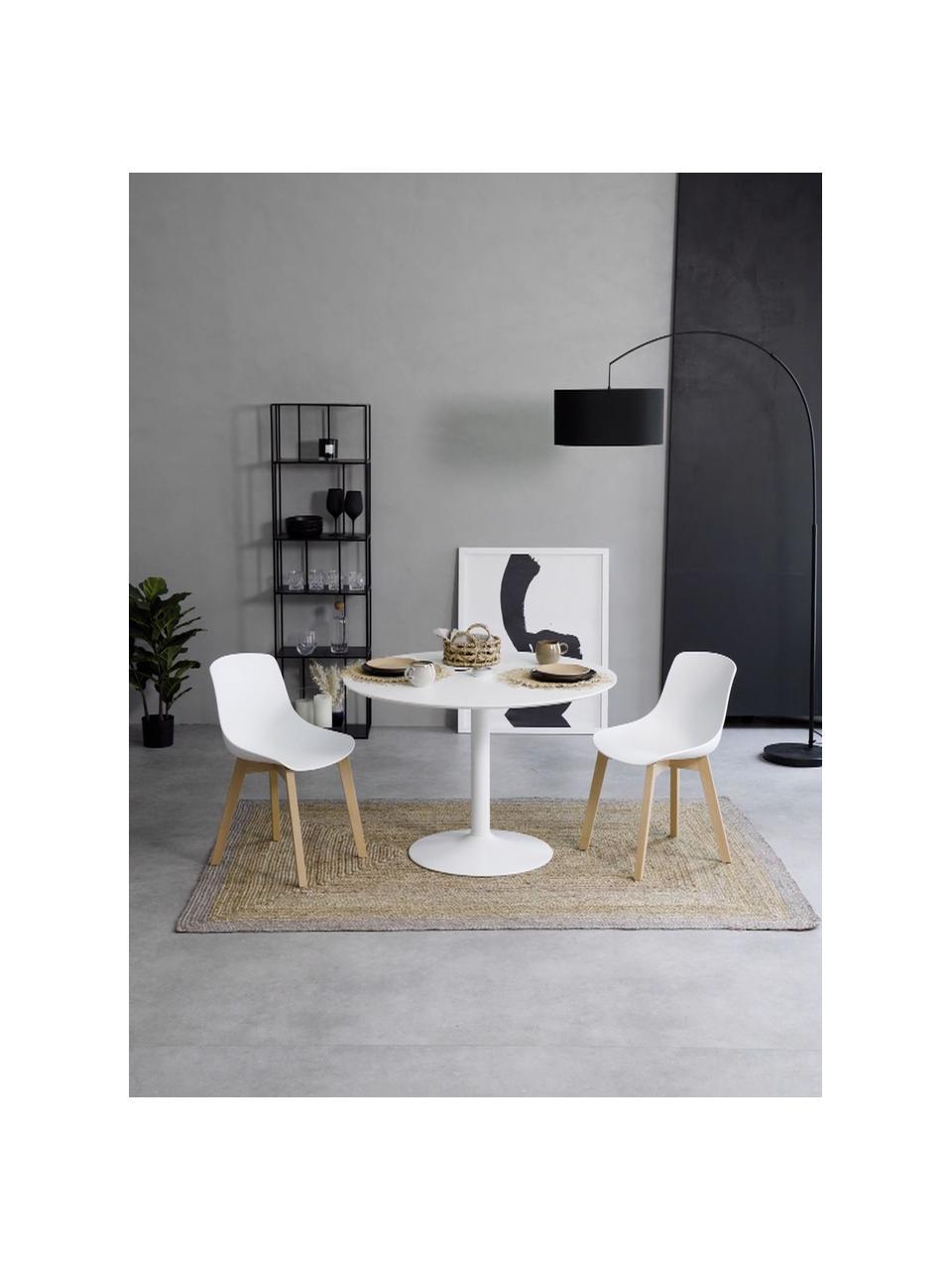 Sedia in plastica con gambe in legno Dave 2 pz, Seduta: materiale sintetico, Gambe: legno di faggio, Bianco, Larg. 46 x Alt. 52 cm