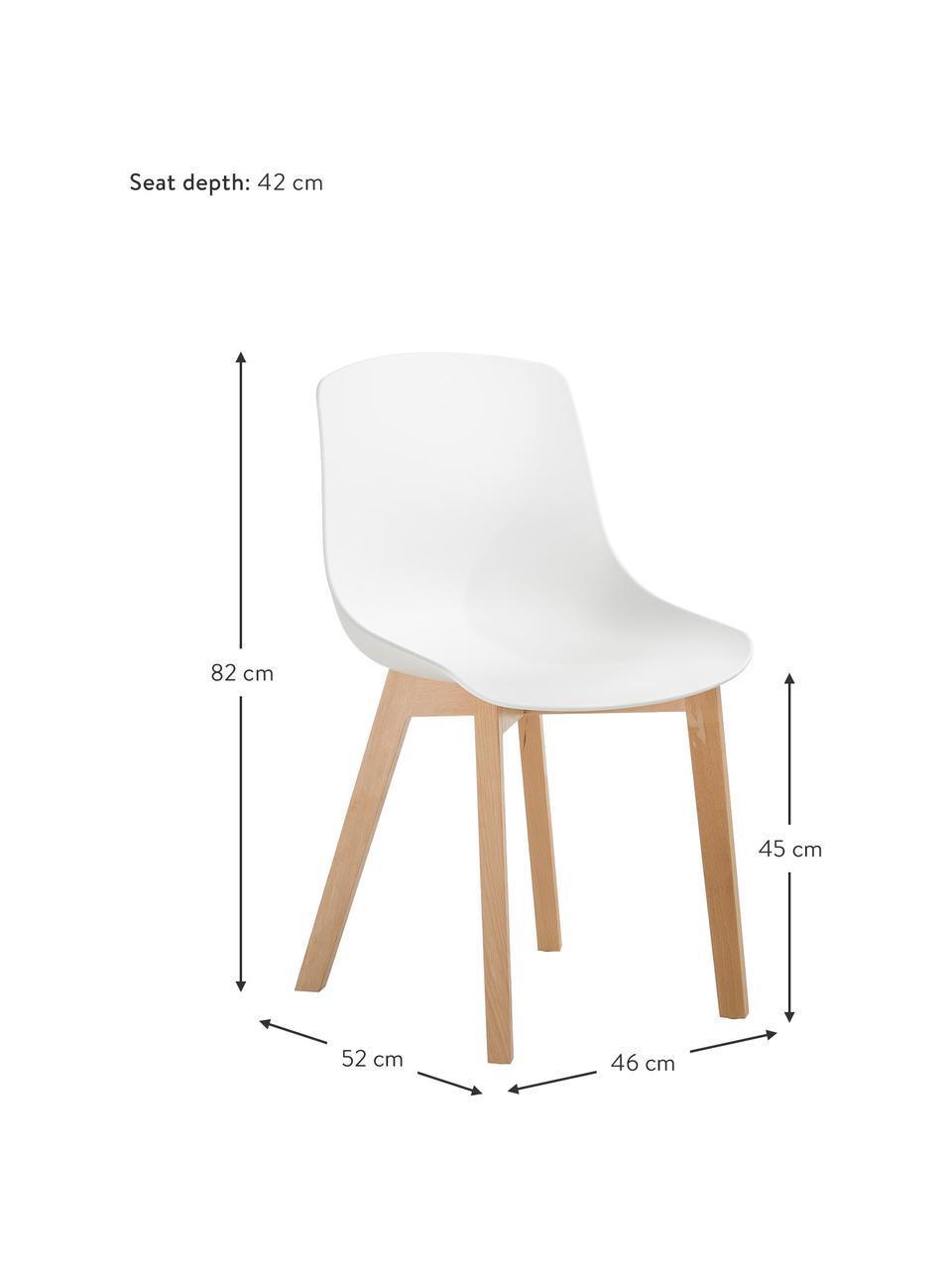 Chaise scandinave plastique Dave, 2pièces, Blanc