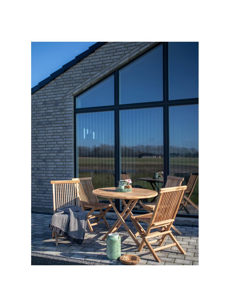 Składany stół ogrodowy z drewna tekowego Oviedo, Drewno tekowe, Drewno tekowe, Ø 100 x W 75 cm